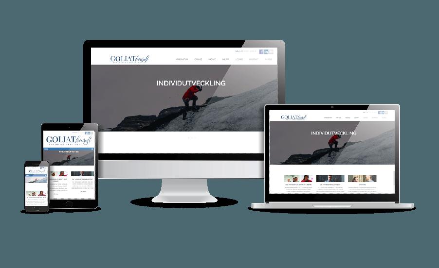 WordPress hemsida - webbdesign Hemsida ledarskap till Goliat Konsult. Snygga hemsidor 2018. Galleri med snygga hemsidor. Webbdesign av Hjälp med hemsidan webbyrå i Stockholm och Åkersberga. Snygga webbsidor 2018