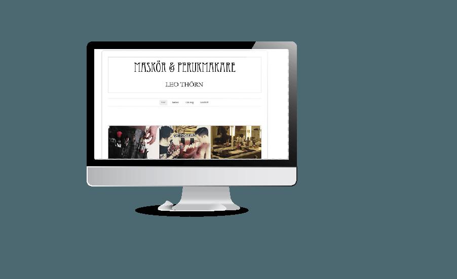 Snygg webbdesign modern hemsida 2018 Leo Thörn perukmakare och kostymör hemsida webbsidan gjord av Hjälp med hemsidan en webbyrå i Åkersberga Stockholm
