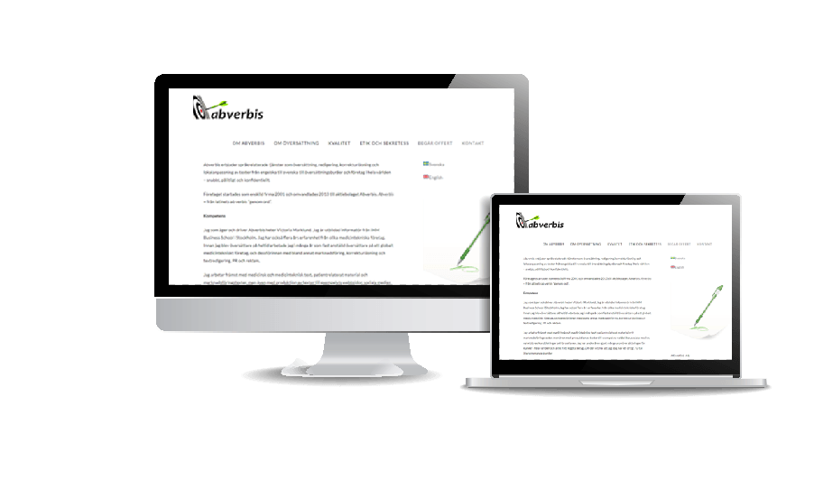 Snygga hemsidor 2018 galleri Abverbis språktjänster i Danderyd Webbdesign av hjälp med hemsidan i Åkersberga Stockholm