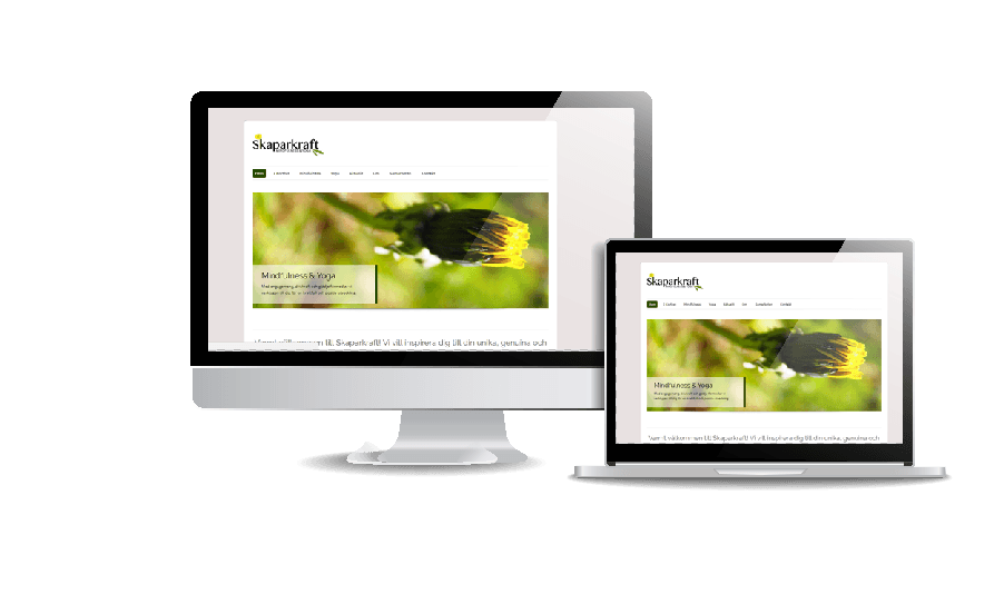 Snygg webbdesign galleri med hemsidor Skaparkraft mindfullness och yoga ny hemsida Webbdesign av webbyrå i Stockholm Hjälp med hemsidan