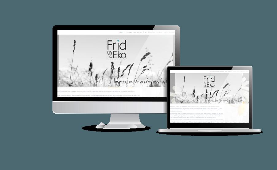 Snygg webbdesign galleri med hemsidor 2018 Frid och Eko ekologiska produkter hemsida Webbdesign av Hjälp med hemsidan en webbyrå i Åkersberga