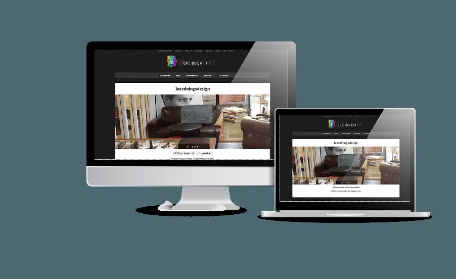 Snygg hemsida galleri 2018 hemsida möbelrenovering unique art Webbdesign av webbyrån Hjälp med hemsidan Stockholm Åkersberga