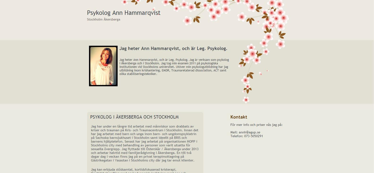 hemsida till psykolog Ann Hammarqvist Åkersberga