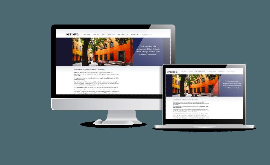 Syggaste hemsidorna galleri 2018 Optimum HR hemsida Webbdesign av Webbyrån Hjälp med hemsidan