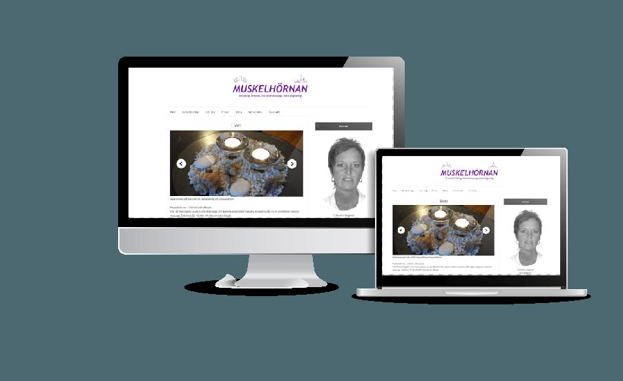 WordPress hemsida - webbdesign Snygg hemsida galleri 2018 Muskelhörnan Massage PT Hemsida webbyrån Hjälp med hemsidan