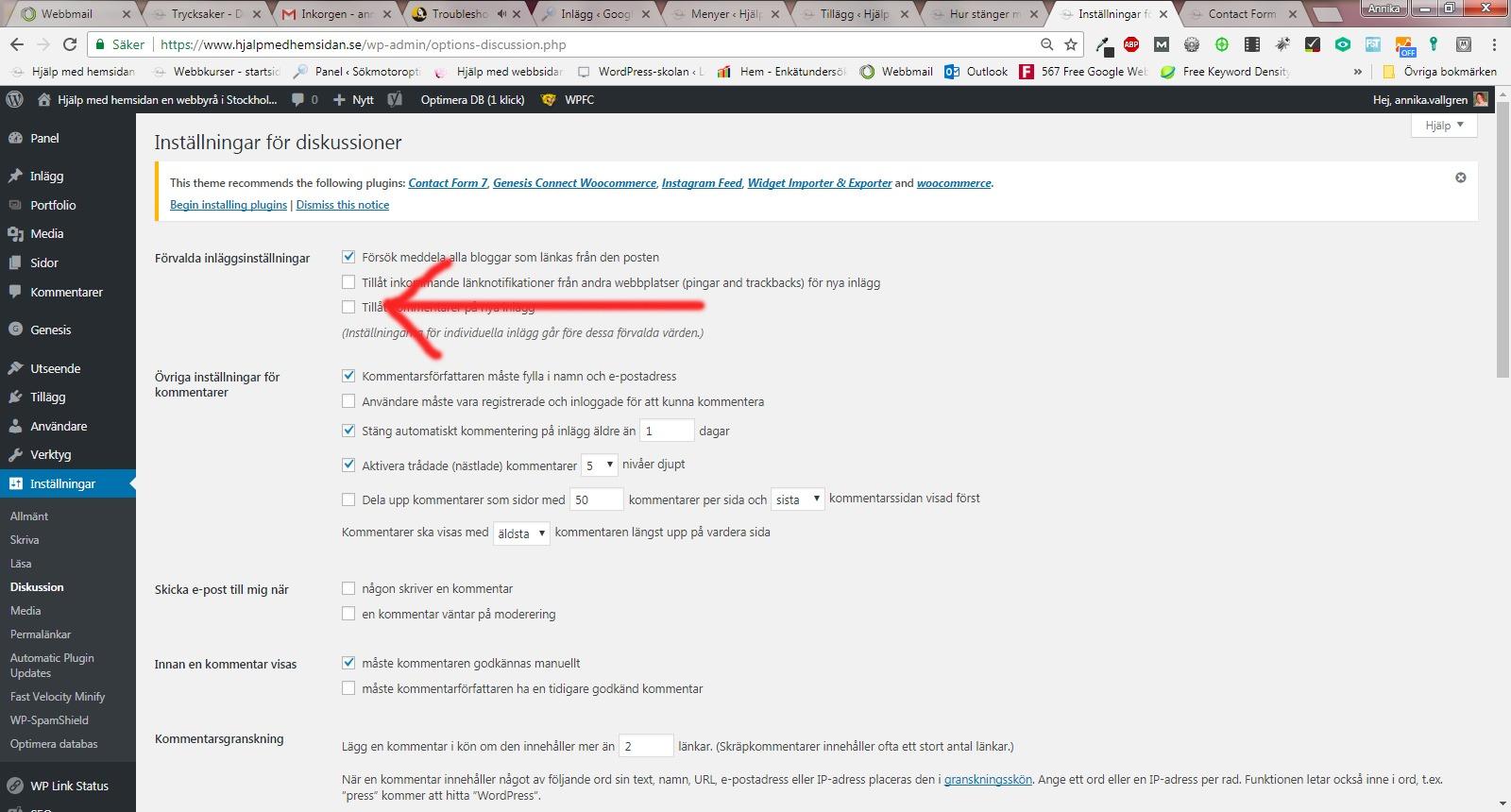 kommentarer i WordPress på hemsidan genom att inte tillåta kommentarer på sidor och inlägg