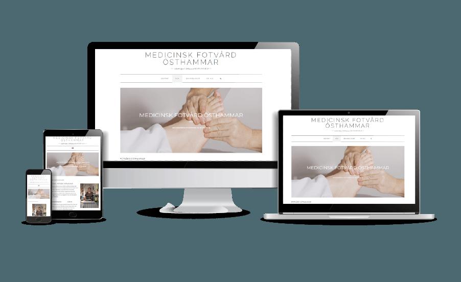 Hemsida till fotvård Fotmaggan Snygga webbsidor 2018 Fotvård i Östhammar webbsida Webbdesigner Hjälp med hemsidan Stockholm Åkersberga