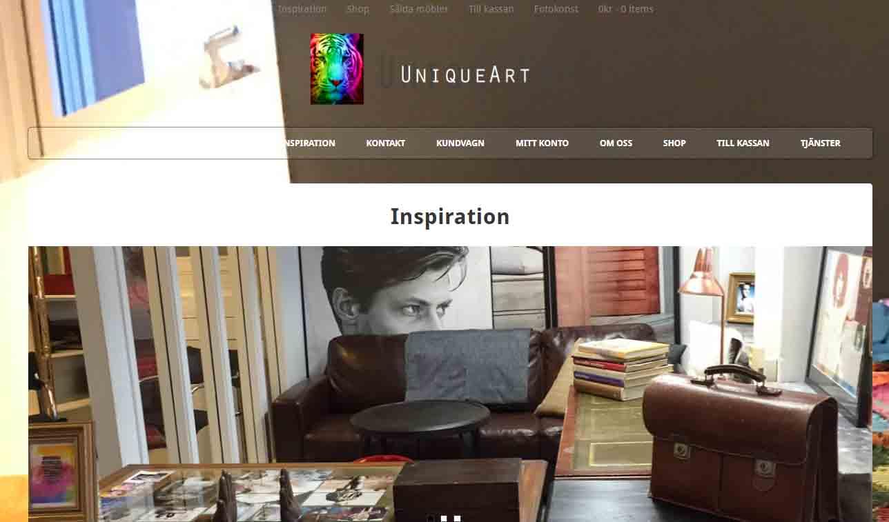 Snygg hemsida exempel och inspiration Unique art Galleri med snygga hemsidor 2018