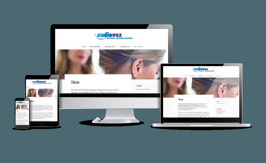 WordPress hemsida - webbdesign Hemsidor galleri 2018 Snygga webbsidor Webbdesigner Hjälp med hemsidan Åkersberga och Stockholm Audiovox