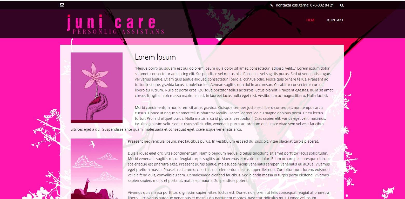 Juni care Umeå har fått hjälp med hemsidan