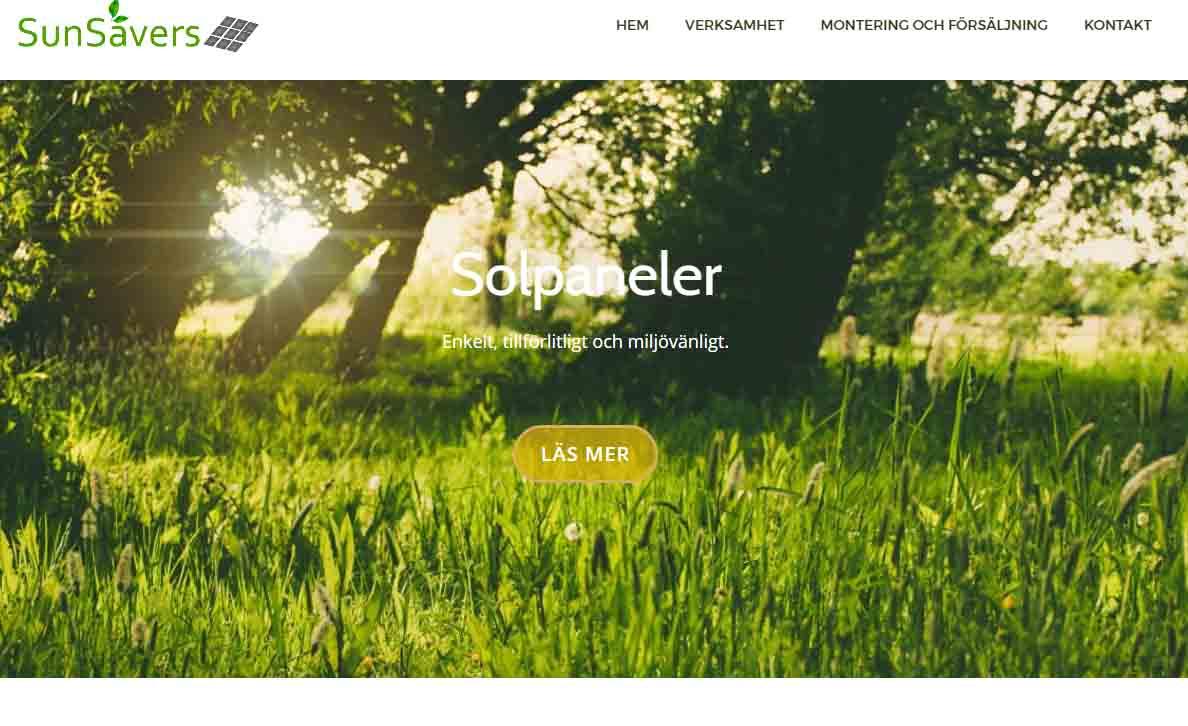 Snygg hemsida exempel och inspiration Sunsavers solpaneler hemsida Snygga hemsidor 2018 WordPress