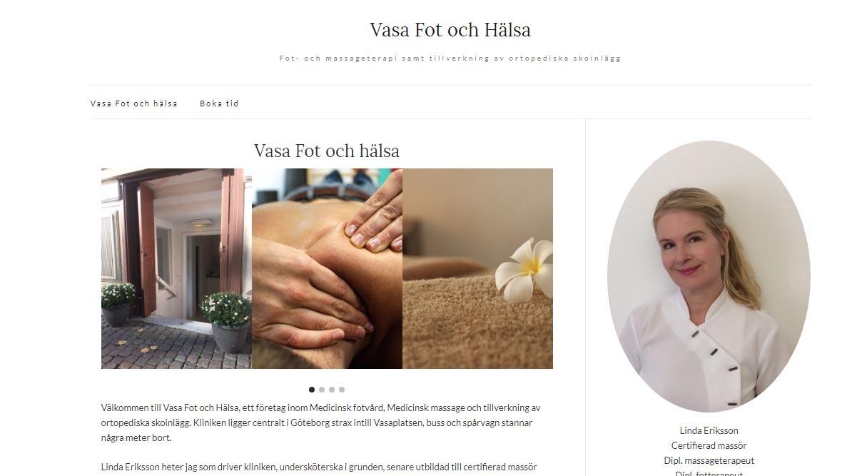 Snygg hemsida exempel och inspiration Snygga hemsidor galleri 2018 Vasa Fot och Hälsa i Göteborg