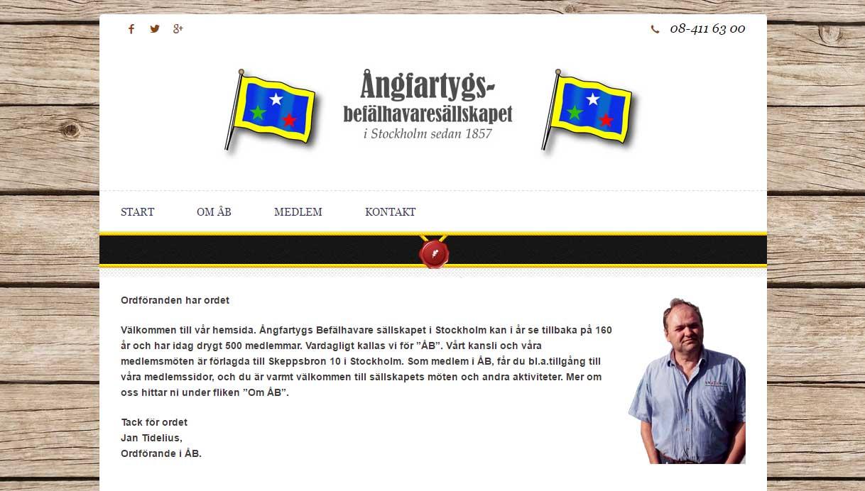 Hjälp med hemsidan Ångfartygsbefälhavaresällskapet fixat hemsida
