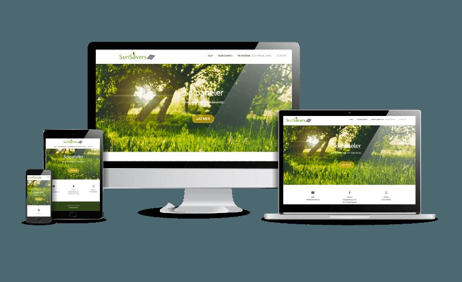 WordPress hemsida - webbdesign Snygga hemsidor 2018 Sunsavers solpaneler webbsida Webbdesigner Hjälp med hemsidan