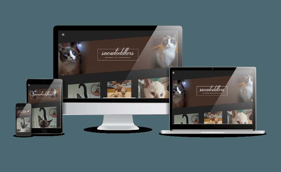 WordPress hemsida - webbdesign Snygg webbdesign Galleri 2018 Snowtoddlers kattuppfödning Webbdesigner Hjälp med hemsidan