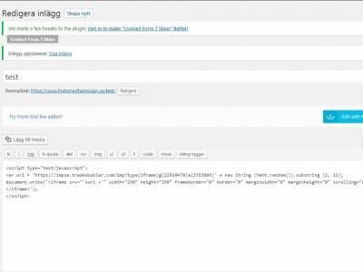 Här lägger du in affiliatekoden på din WordPress hemsida