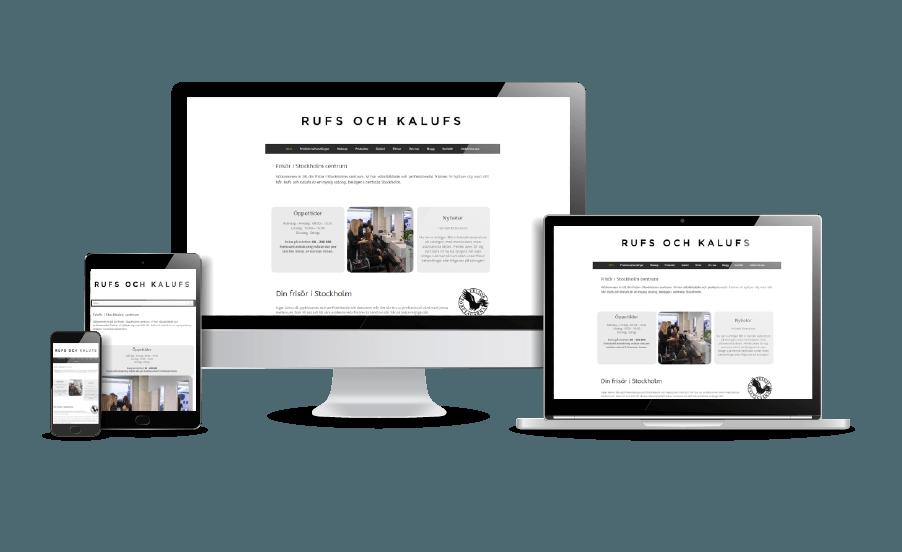 WordPress hemsida - webbdesign Snygga webbsidor Rufs och Kalufs frisörsalong 2018 Webbyrån Hjälp med hemsidan i Stockholm Åkersberga