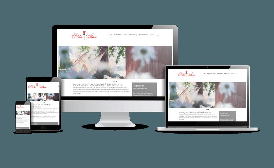 WordPress hemsida - webbdesign Snygga hemsidor 2018 exempel Röda Villan Fjäderholmarna Webbyrån Hjälp med hemsidan