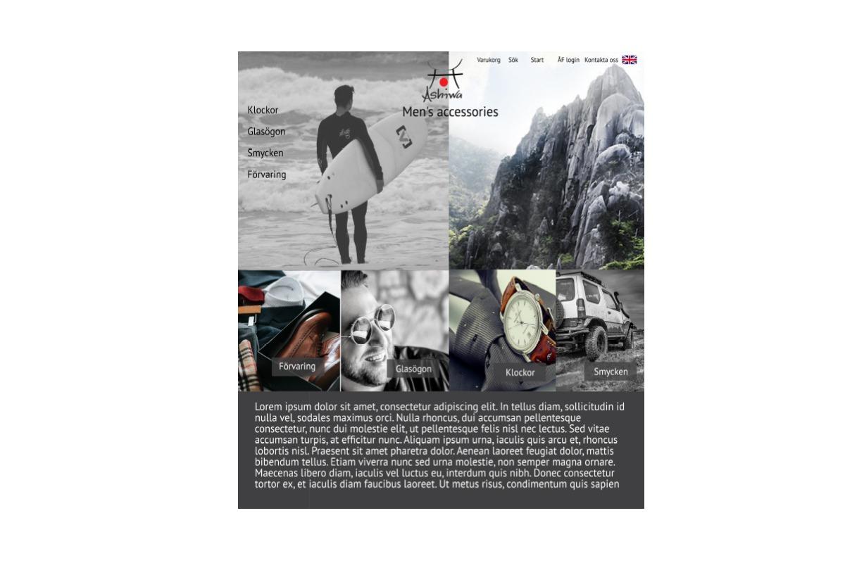 WordPress hemsida - webbdesign Hemsidesdesign till företag Hemsida layout design webbyrån hjälp med hemsidan Ashiwa märkeskläder och design för män 2018