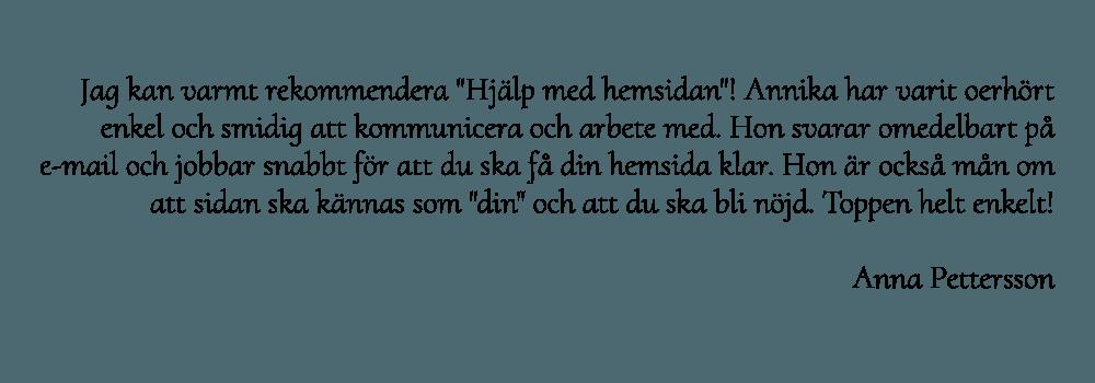 Anna Pettersson rekommenderar webbyrå för Hjälp med hemsidan