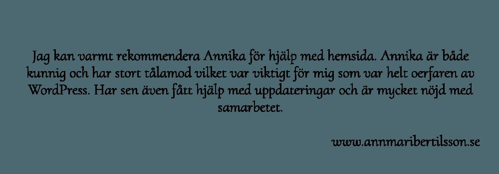Annmarie Bertilsson rekommenderar webbdesignern Annika Vallgren