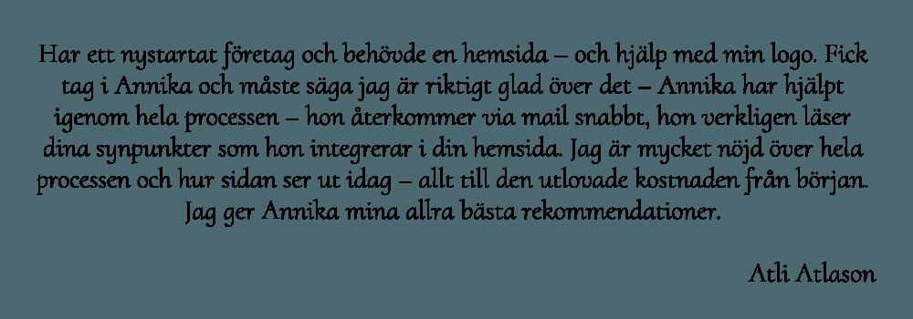 Atli Atlason är mycket nöjd med webbyrån Hjälp med hemsidan i Åkersberga Stockholm
