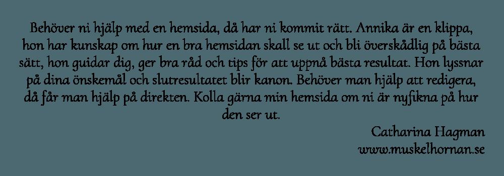 Catharina Hagman är mycket nöjd med sin nya hemsida