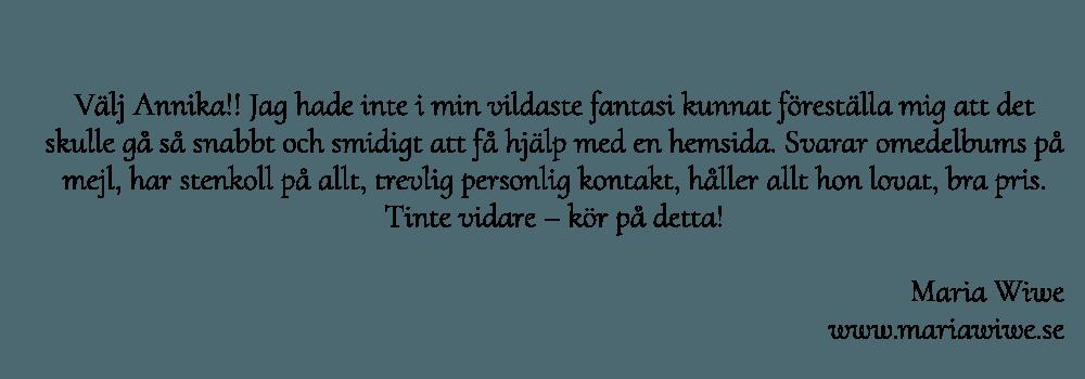 Maria Wiwes rekommendationer av Hjälp med hemsidan