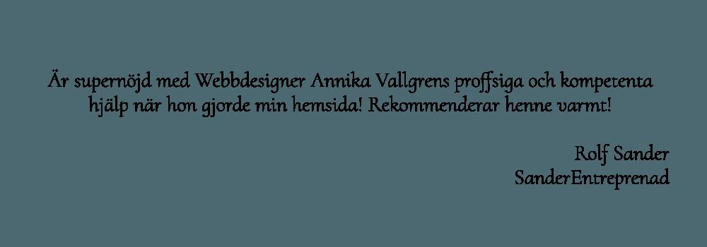 Rolf Sander entreprenadföretag som är mycket nöjd med sin nya hemsida