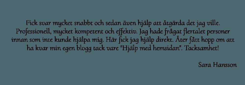 Sara Hansson rekommenderar webbdesigner