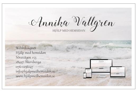 Snygga visitkort företag Hjälp med hemsidan