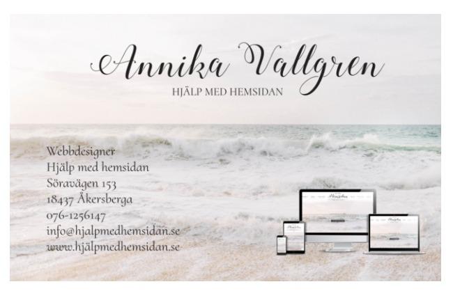 design av snygga visitkort Hjälp med hemsidan