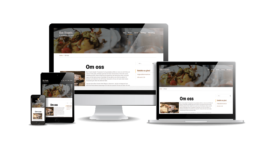 Hemsida till events- och catering företag