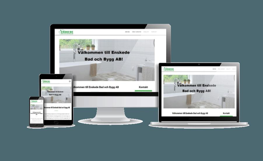 Exempel på snygg hemsida till byggfirma Enskede Bygg Webbdesigner Annika Vallgren från webbyrån Hjälp med hemsidan