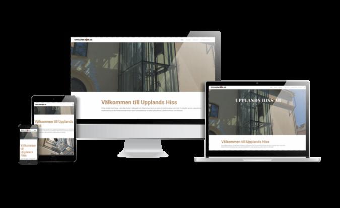 Snygg hemsida 2018 galleri - responsiv hemsida till Upplands Hiss AB - Webbdesign av www.hjalpmedhemsidan.se