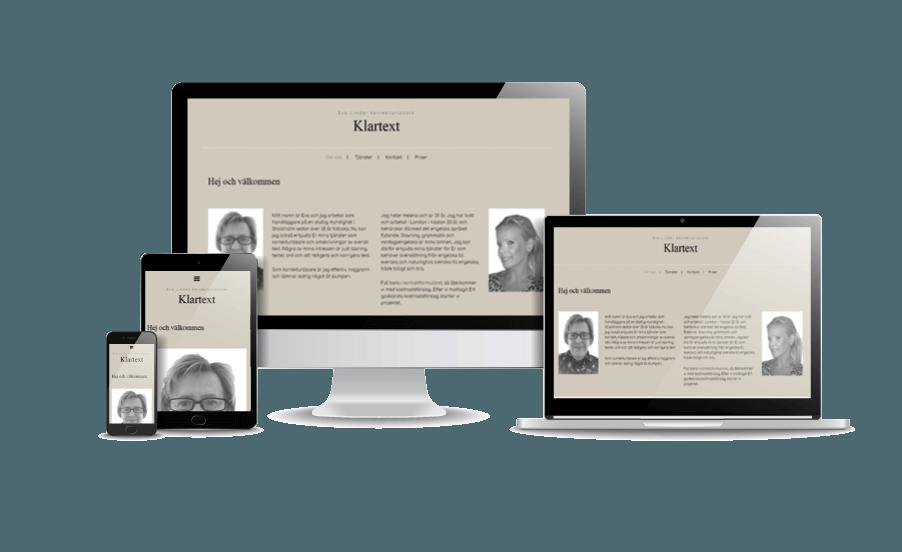 WordPress hemsida - webbdesign Snygga hemsidor 2018-Hemsida till översättare Klartext