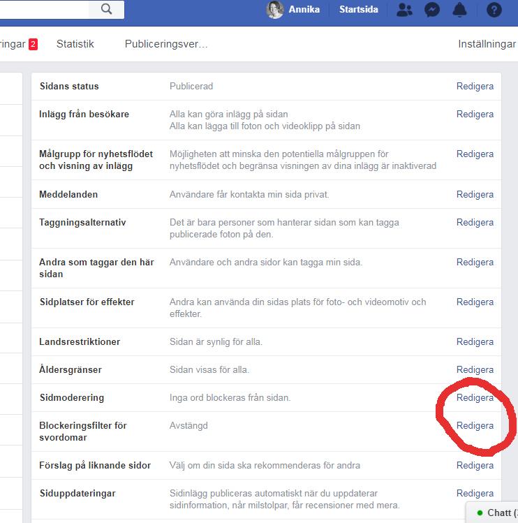 stänga av kommentarer på facebook spam och svordomar