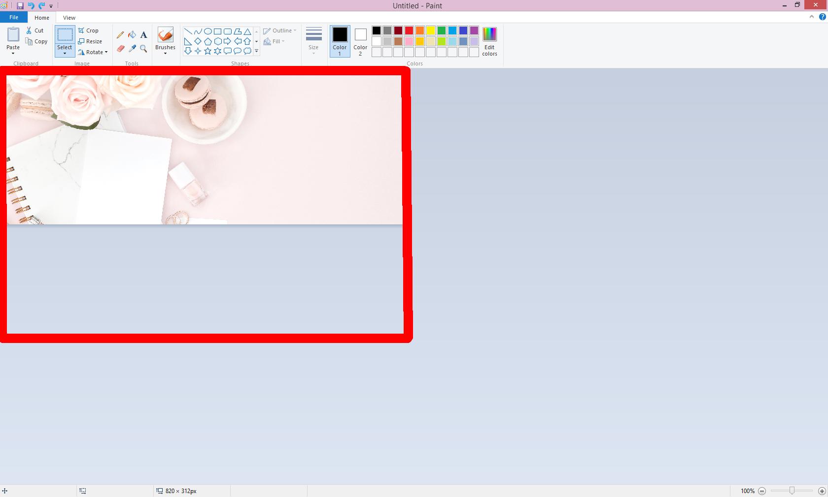 Omslagsbild för Facebook så här gör du i Paint för att visa rätt del av bilden