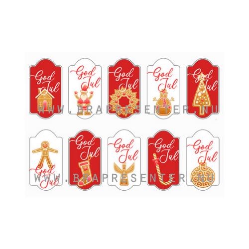 Etiketter för julklappar röda och vita