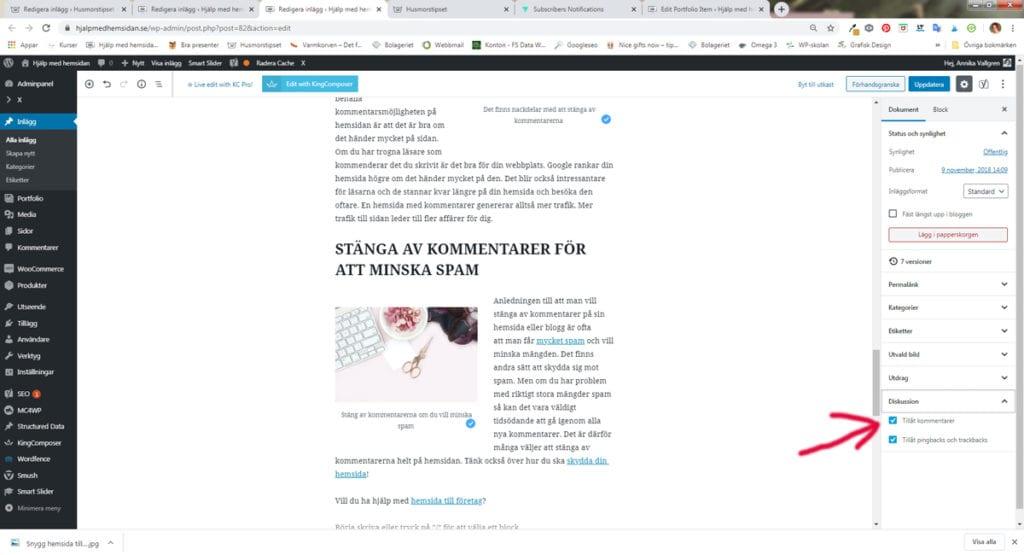 kommentarer i WordPress - Hjälp med hemsidan tipsar